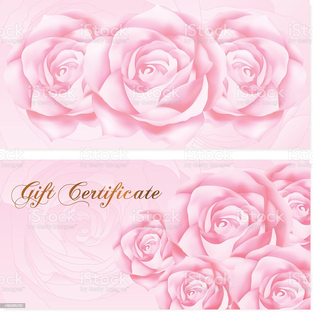 gift certificate voucher coupon reward ticket template stock vector