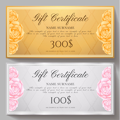 Gift certificate, Voucher, Coupon template with flowers Roses and gold, silver pattern background