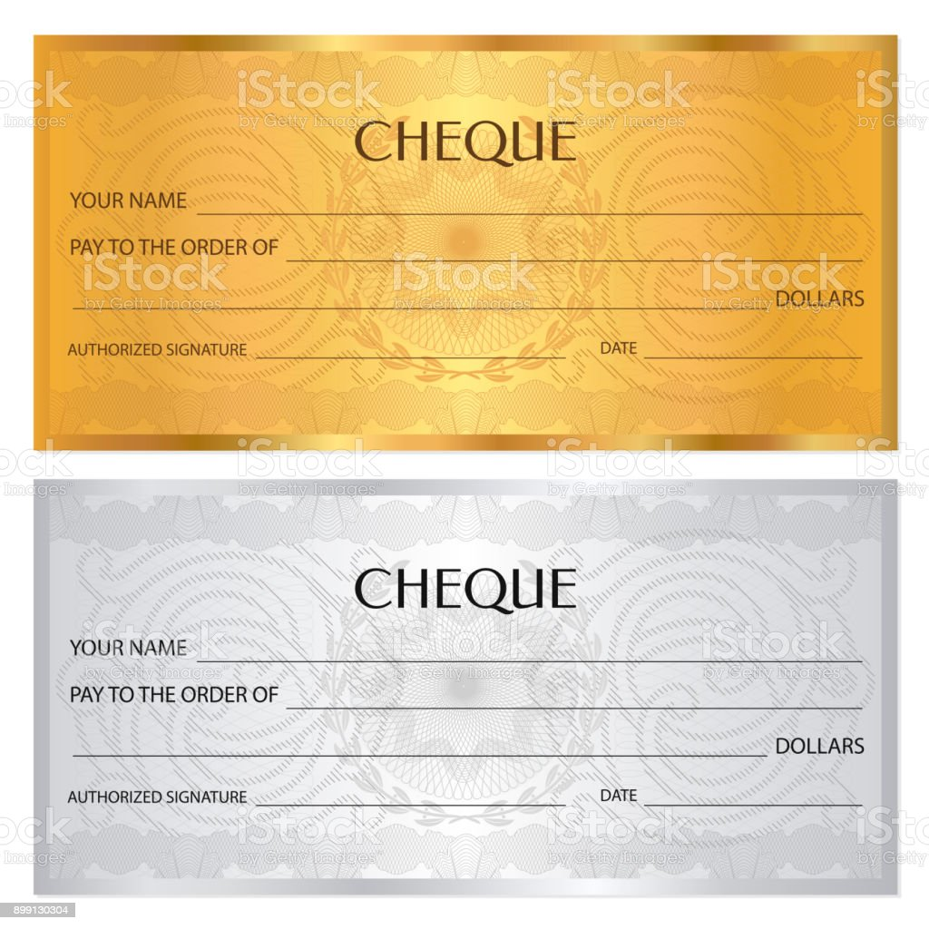 Gift Certificate Voucher Coupon Ticket Template Guilloche Pattern