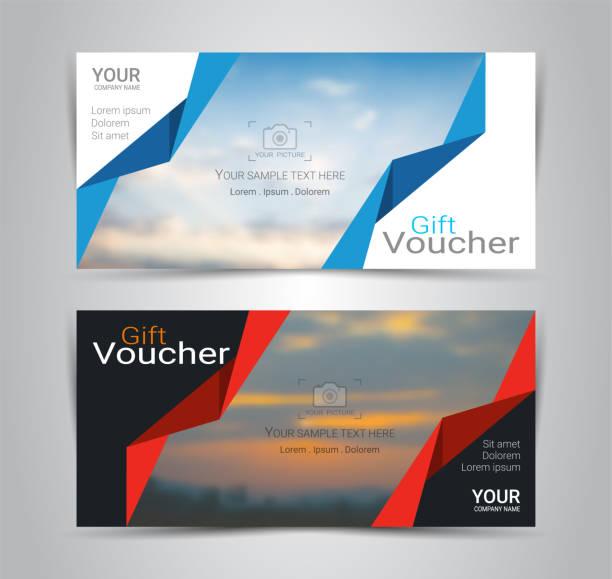 Geschenkgutscheine und Gutscheine, Rabatt Coupon oder Banner Webvorlage mit unscharfen Hintergrund Verlaufsgitter machen ein Bild von den Produkten Ihr Unternehmen anbietet (verschwommene Foto ein Beispiel) – Vektorgrafik