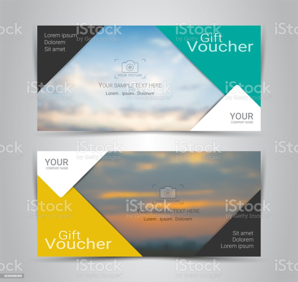 Gift certificates and vouchers, discount coupon or banner web template with blurred background gradient mesh for make an image of the products your company offers (Blurred photo for an example) vector art illustration