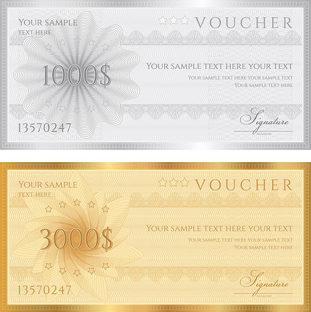 Gift certificates for foreign currencies JPG without text included banking patterns stock illustrations