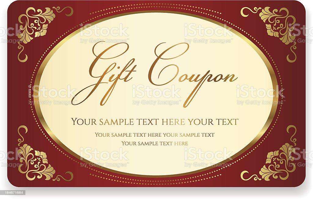 Gift Coupon Discount Business Card Floral Gold Frame Stock Vector ...