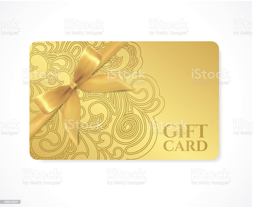 Gift coupon, discount card, ticket. Filigree pattern (scroll) gold bow vector art illustration