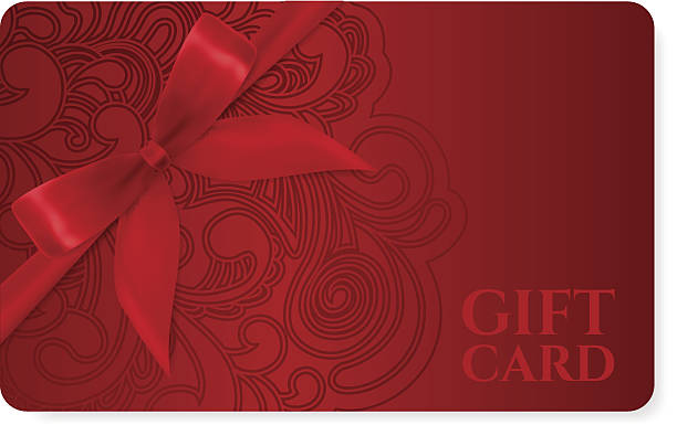 Gift coupon, discount card, ticket. Filigree pattern (scroll) red bow JPEG without text included gift card stock illustrations