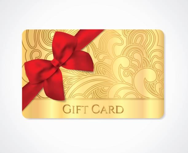 illustrazioni stock, clip art, cartoni animati e icone di tendenza di gift coupon, gift card (discount, business card) with floral (scroll, swirl) gold swirl pattern (tracery), bow (ribbon) - coupon