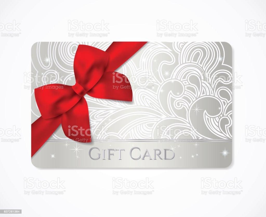 Bon-cadeau, carte cadeau (discount, carte de visite) avec floral (faites défiler, agiter) argent motif tourbillon (entrelacs), bow (ruban) - Illustration vectorielle