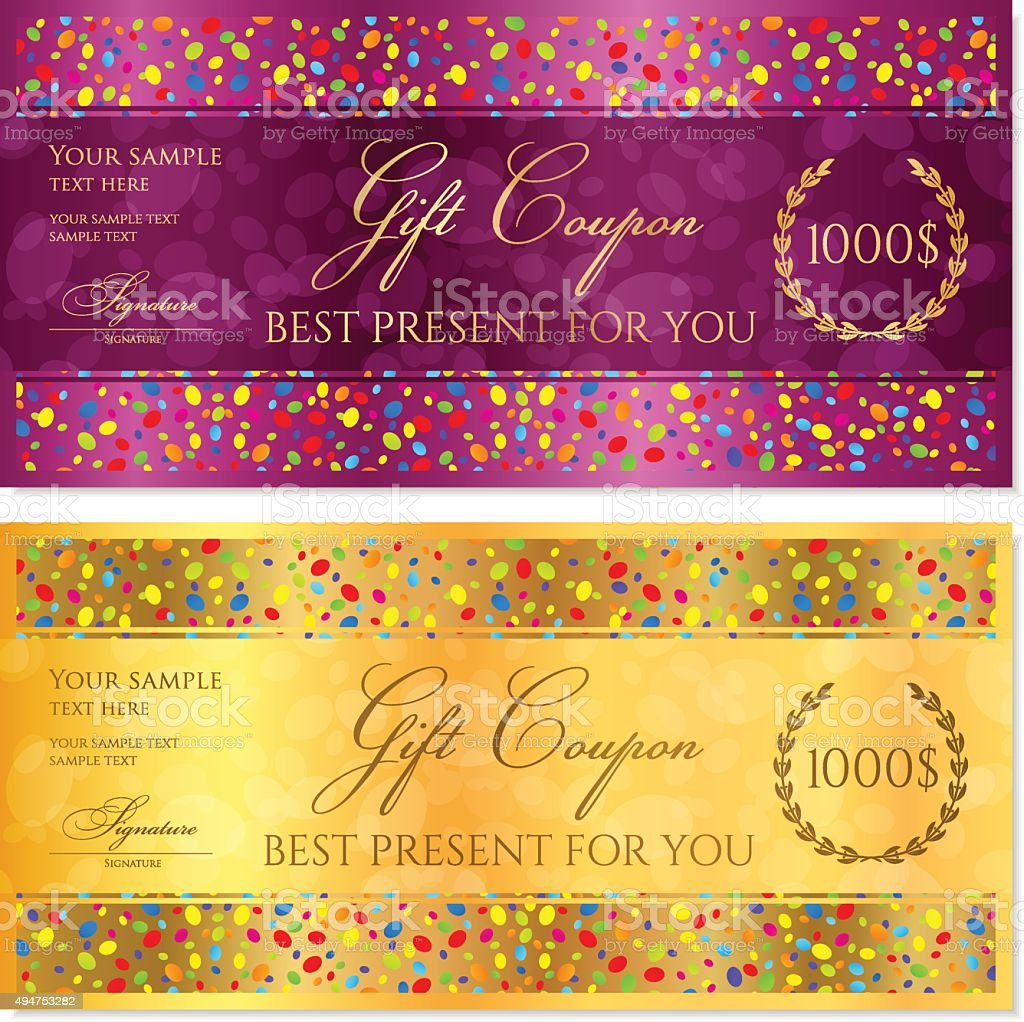 gift coupon gift certificate voucher reward template with colorful