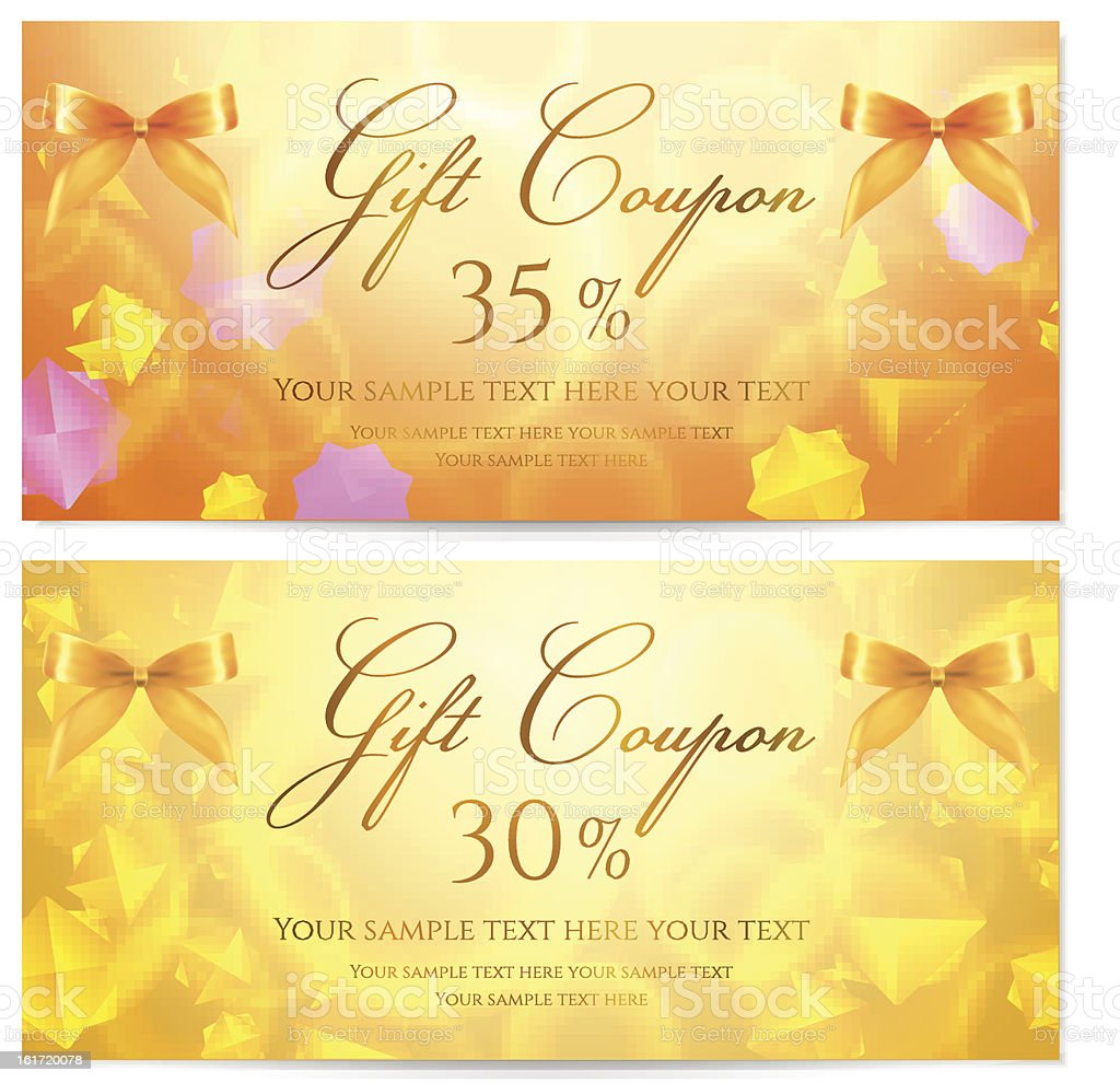 Gift coupon voucher template with stars background and bow stock gift coupon voucher template with stars background and bow ribbons royalty free yadclub Image collections