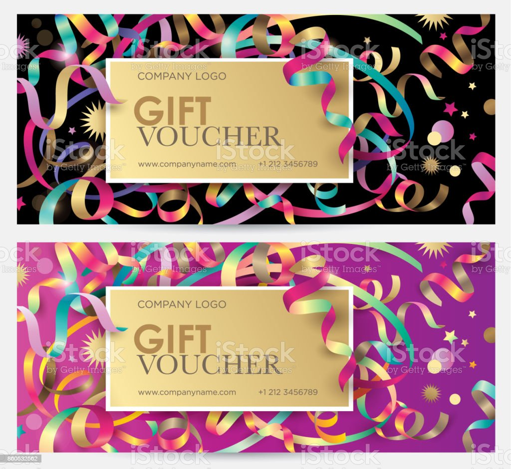 Gift coupon with colorful ribbons, serpentine and glitter. vector art illustration