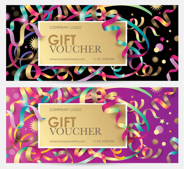 gift coupon with colorful ribbons, serpentine and glitter. - prezent na urodziny stock illustrations