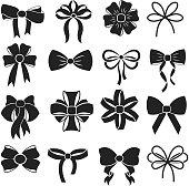 Gift decorative ribbon bow vector icons set