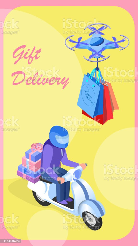 Gift Delivery Service Flat Vector Banner Template. Futuristic...