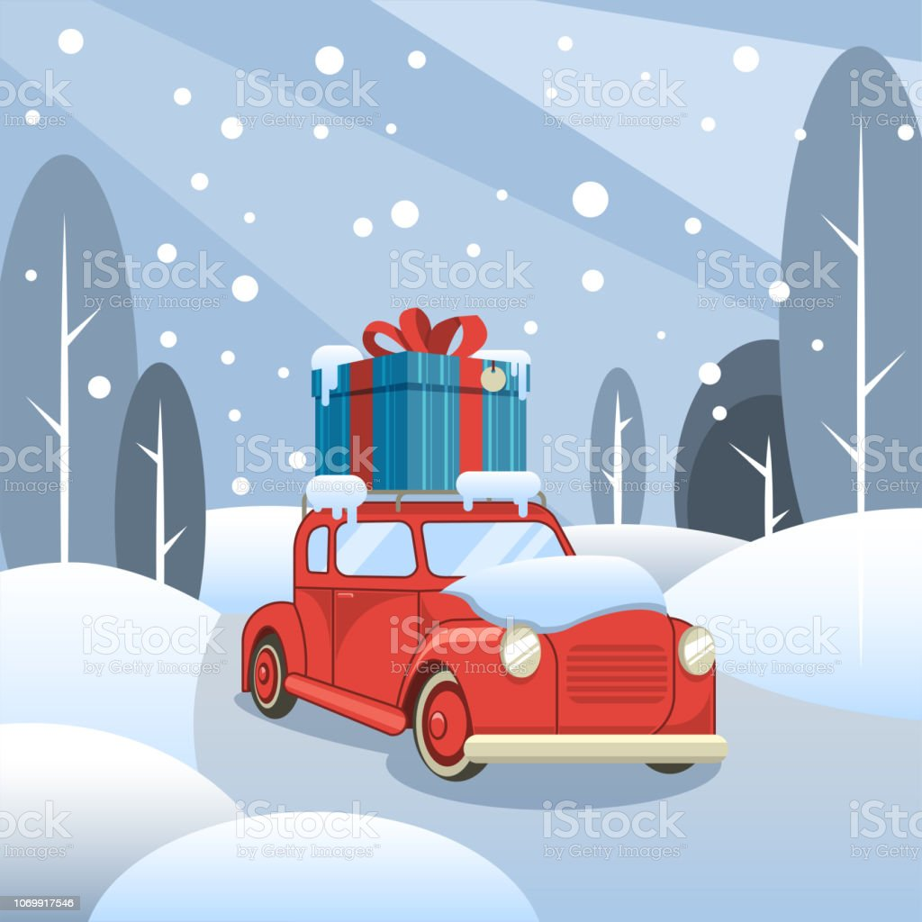 Gift delivery. The car goes through the winter forest with a box on...
