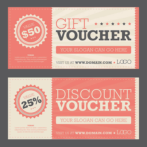 Gift & Discount Voucher Retail promotional gift and discount voucher coupon stock illustrations
