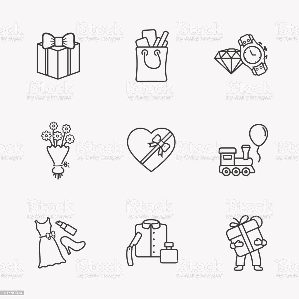 Gift flat contour shop icon set vector art illustration