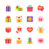 16 Gift Flat Icons.