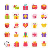 25 Gift Flat Icons.