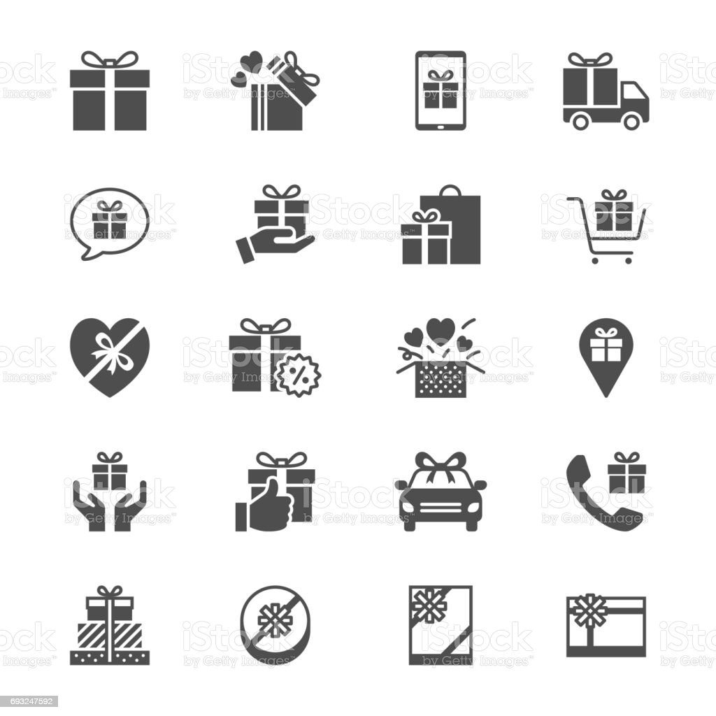 Gift flat icons vector art illustration