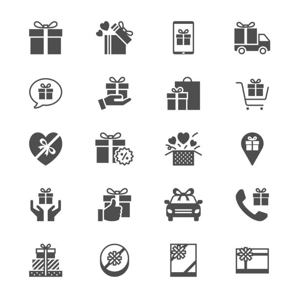 gift flat icons - gift stock illustrations
