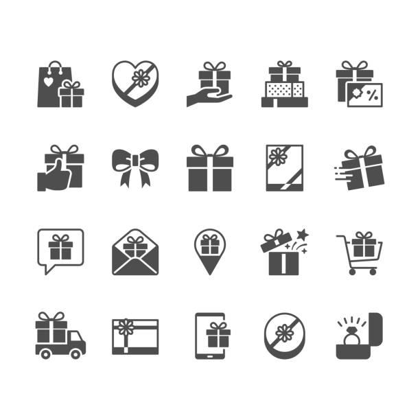 stockillustraties, clipart, cartoons en iconen met cadeau plat pictogrammen. - birthday gift voucher