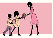 Tw children giving their mother flowers and a gift. Click below for more children and baby images.
