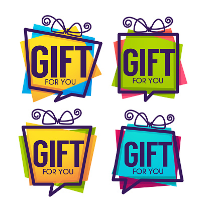 Gift for you, abstract vector present box for your congratulation banner design and greeting cards looks like a speech bubble