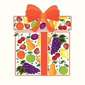 gift from fruit decorated with a bow