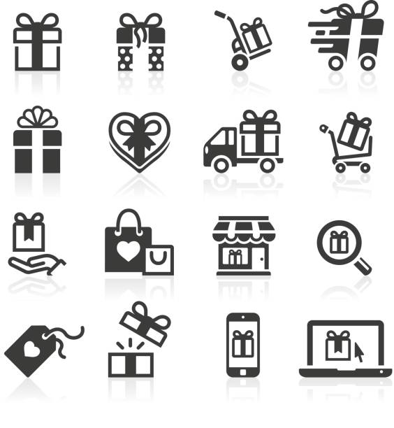 Gift Giving and Shopping Icons vector art illustration