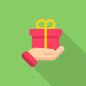 Gift Giving, Charity Flat Icon.