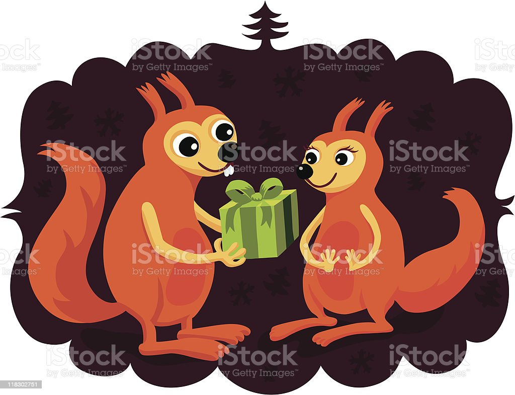 Gift Giving Squirrels vector art illustration
