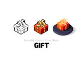 Gift icon, vector symbol in flat, outline and isometric style
