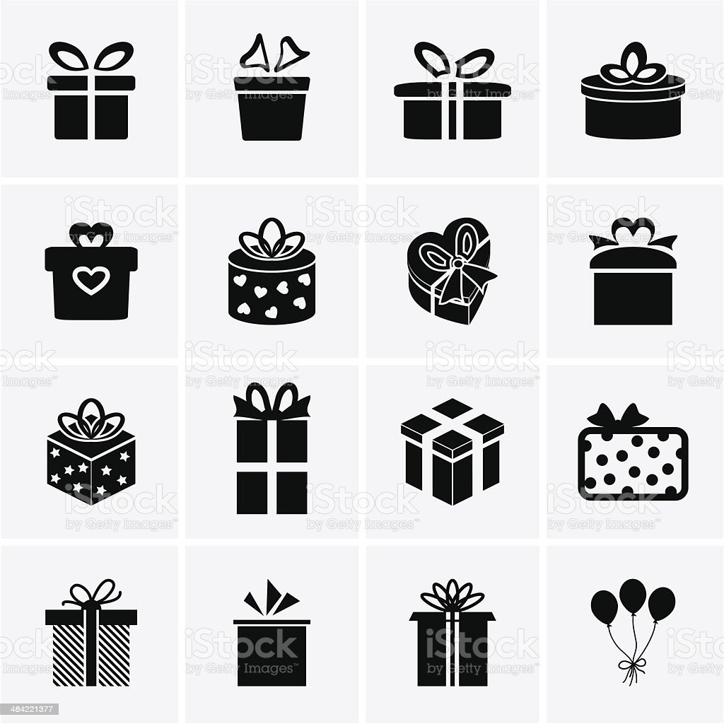 Gift Icons vector art illustration