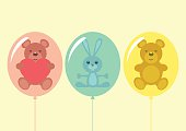 Illustration of three stuffed balloons. EPS10 file with transparencies.