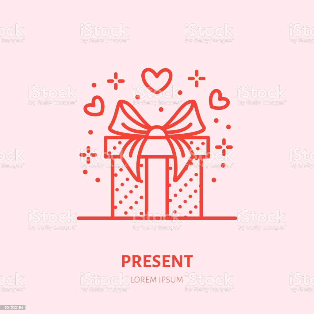 Gift in box illustration. Flat line icon, souvenir shop. Valentines day present sign - Royalty-free Amor arte vetorial