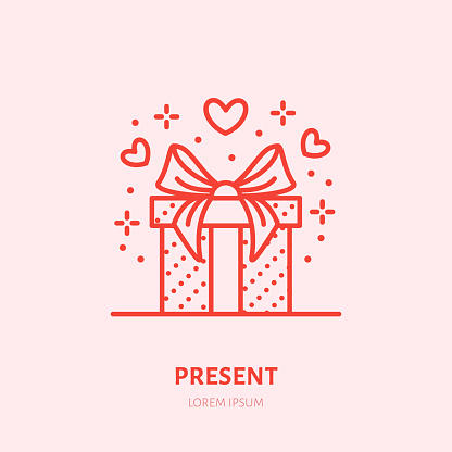 Gift in box illustration. Flat line icon, souvenir shop. Valentines day present sign