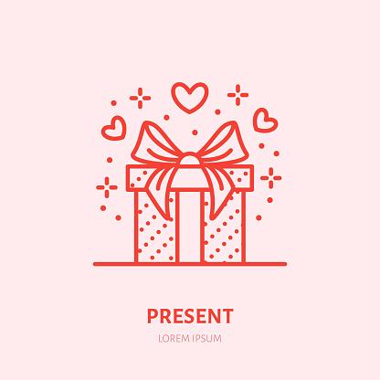 Gift In Box Illustration Flat Line Icon Souvenir Shop Valentines Day Present Sign - Stockowe grafiki wektorowe i więcej obrazów Chudy