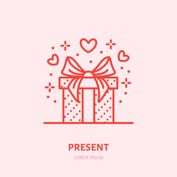 gift in box illustration. flat line icon, souvenir shop. valentines day present sign - gift stock illustrations