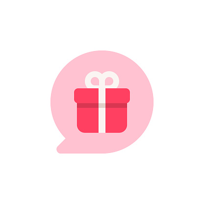 Gift in Speech Bubble Flat Icon. Pixel Perfect. For Mobile and Web.
