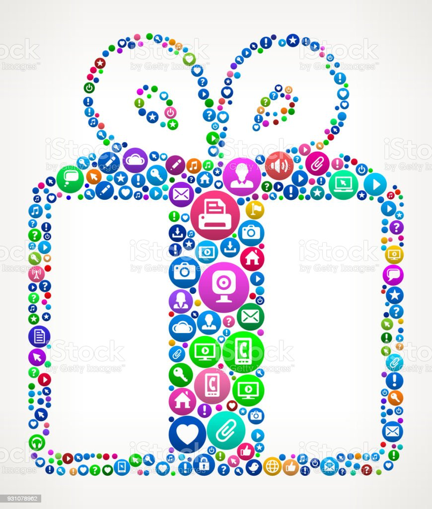 Gift Internet Communication Technology Icon Pattern vector art illustration