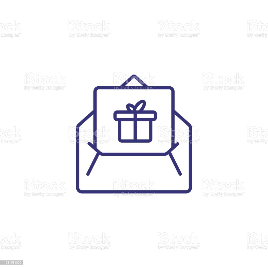 Gift Letter Line Icon Stock Illustration Download Image Now Istock