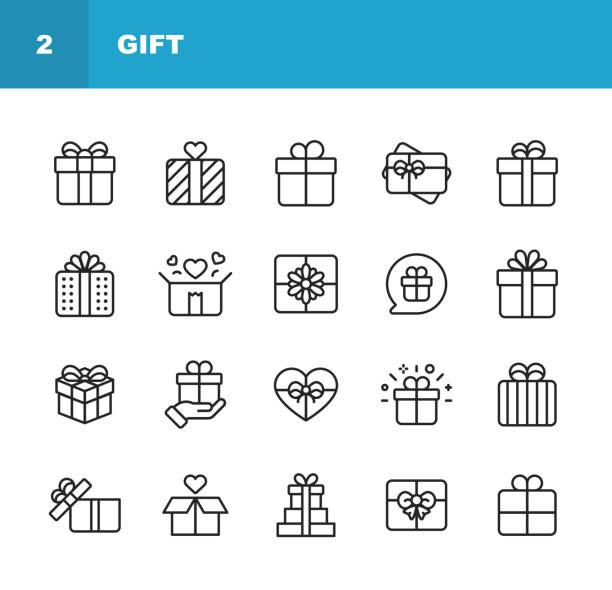 ikony linii prezentów. edytowalny obrys. pixel perfect. dla urządzeń mobilnych i sieci web. zawiera takie ikony jak gift box, christmas present, birthday present, valentine present, giving. - gift stock illustrations