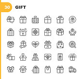 30 Gift Outline Icons.