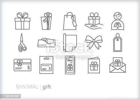 Set of 15 gift line icons for giving presents, gift cards or greetings to loved one