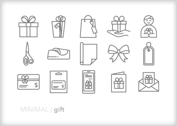 Gift line icons for birthday, holiday or christmas presents Set of 15 gift line icons for giving presents, gift cards or greetings to loved one gift card stock illustrations