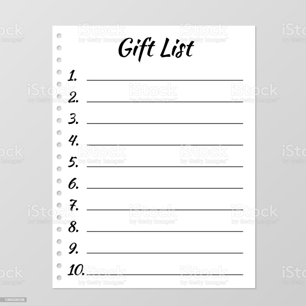 Gift List Template Planner Page Lined And Numbered Paper Sheet Blank
