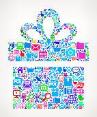 Gift on Modern Technology & Communication Vector Icon Pattern
