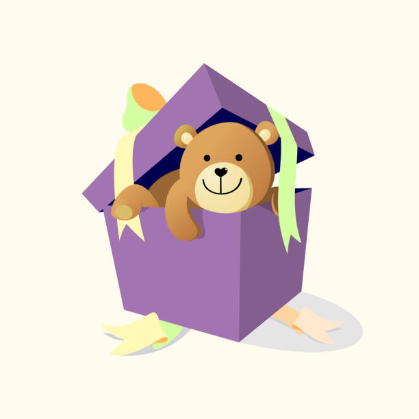 A gift of bear doll vector art illustration