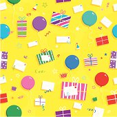 A cool gift, present and balloon seamless pattern.