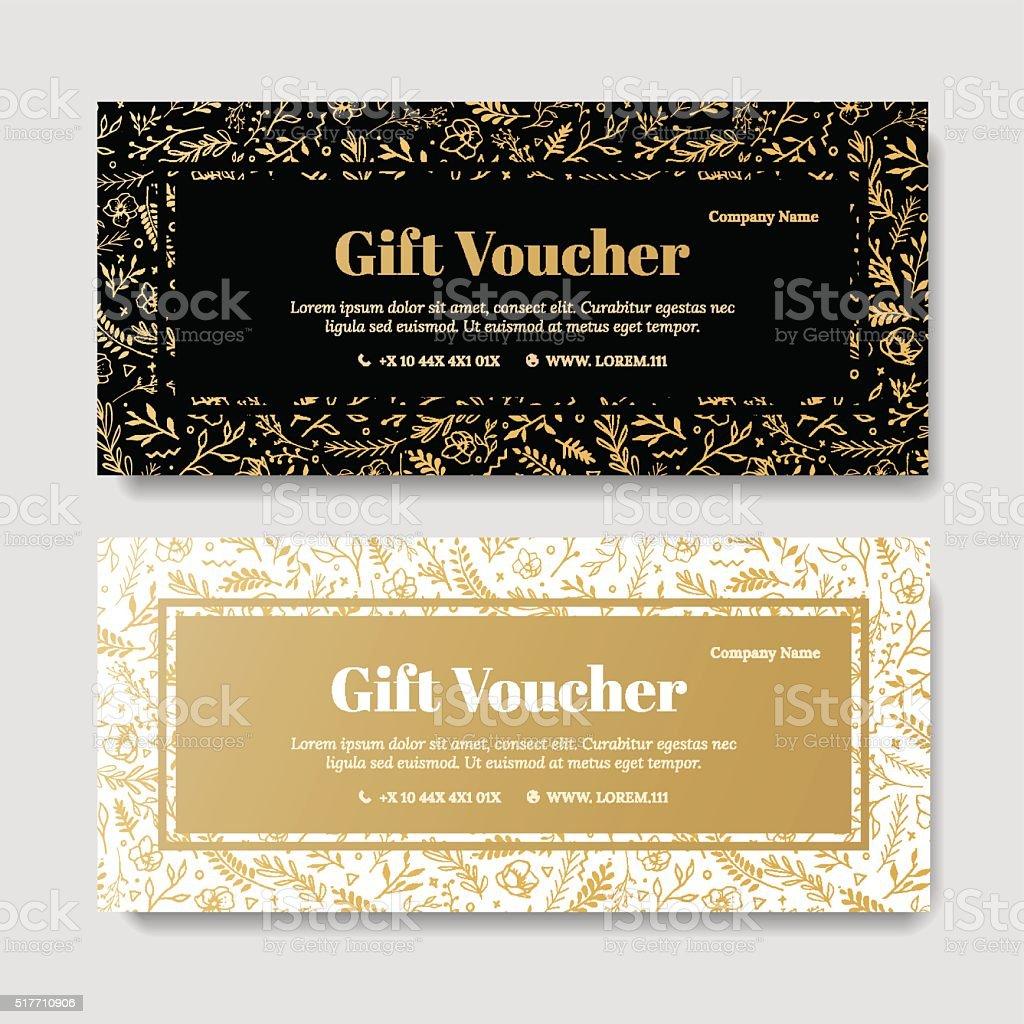 Gift premium voucher, coupon template. vector art illustration